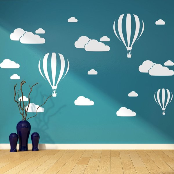 New Cartoon Hot Air Balloon White Clouds Wall Stickers For Kids Baby Rooms Nursery Wallpaper Home Decor Bedroom Vinyl Art Mural