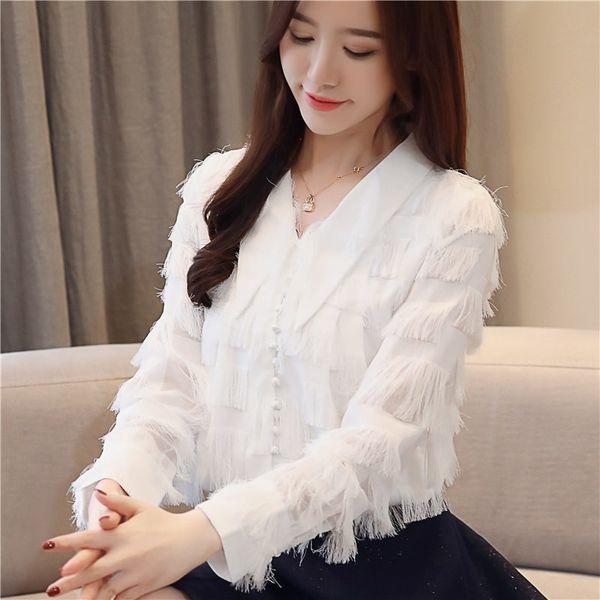 New 2019 Spring Women Office Blouses White Chiffon Shirt Loose Long Sleeves Tassel Stitching Shirt Female Tops Blusa