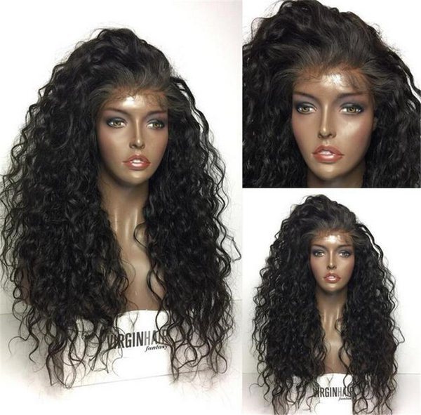 Women Human Hair Full Lace Wig Brazilian Virgin Hair Lace Front 150%Density With Baby Hair Loose Curly Wig Chestnut Brown Medium Brown Color