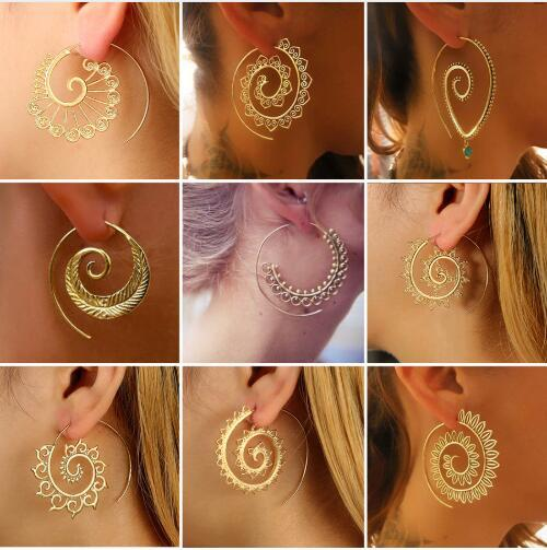 2019 Bohemia Ethnic Personality Round Spiral Drop Earrings Exaggerated Love Heart Whirlpool Gear Earrings for Women Beach Jewelry