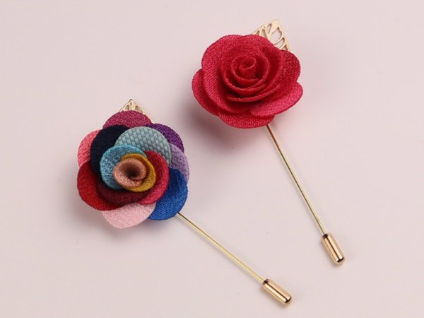 (White Purple Blue Pink Green Brown Black )22 Colors Fabric Lapel Flower Pins Party Favor Men 'S Lapel Brooches