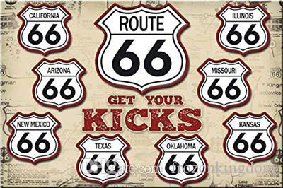route 66 here glet your kicks 20*30cm blond beauty motorbicycle Tin Sign Coffee Shop Bar Restaurant Wall Art decoration Bar Metal Paintings