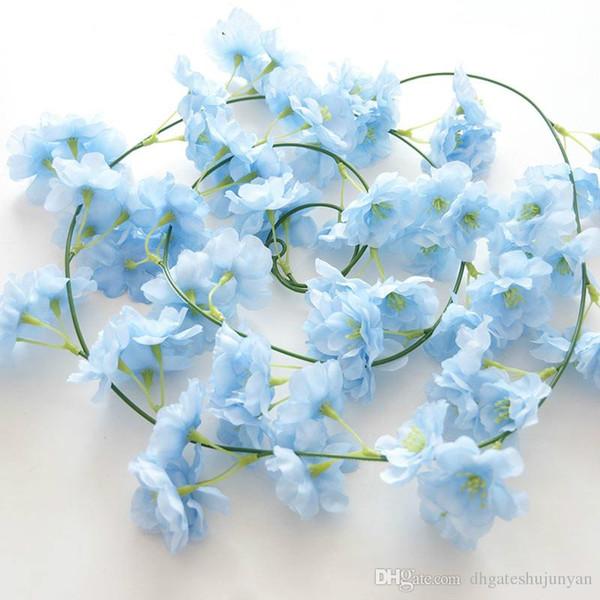 2M longue Fleur de cerisier fleurs de soie artificielle vigne Tenture Wisteria pour la maison et les décorations de mariage