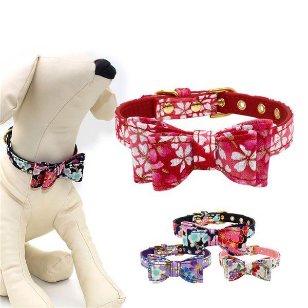 16 Styles Cherry Flower Pattern Bow Tie Fabric Pet Dog Collar Dog Leash Lead Tools Training Collars Dog Pet Supplies ST022