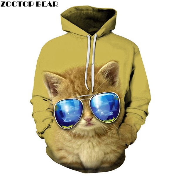 Cool Yellow Cat 3D Print Hoodie Uomo Donna Felpa Tuta Casual Pullover Hoody Streetwear Primavera Coat Dropship