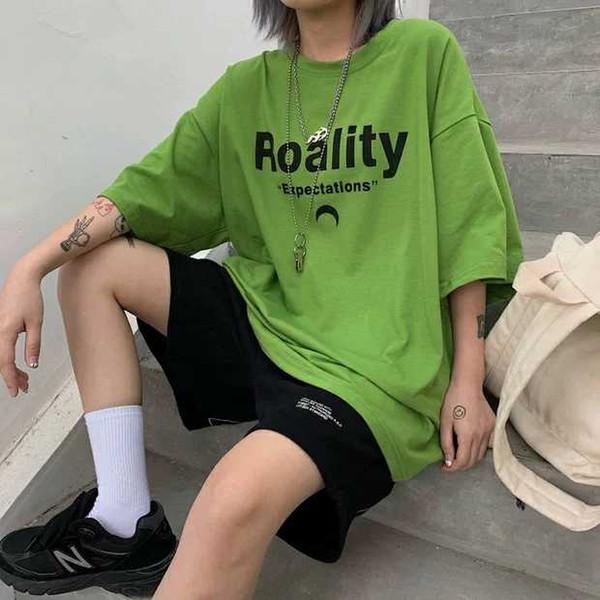T56 Estate 2019 nuova versione coreana di Harajuku hip hop BF vento ricamo allentato manica corta Hong Kong T-shirt camicetta ins tendenza