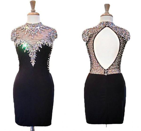 Sexy Black Short Fashion Evening Prom Dress 2019 High Neck Bling Bling Crystal Rhinestones Beaded Keyhole Formal Red Carpet Celebrity Dress