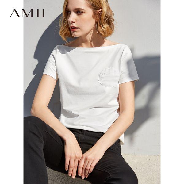 Amii Minimalist T-Shirt Kadın İlkbahar Yaz 2019 Nedensel Katı Kısa Kollu Çizgi Yaka Patchwork Pamuk Kadın En Tees C19041702
