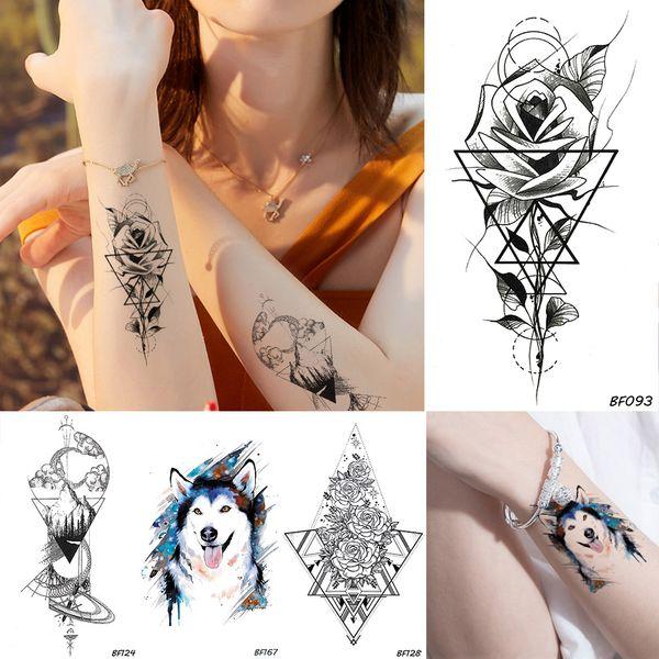 Men Geometric Flower Rose Women Black Temporary Tattoo Blue Wolf Waterproof Fake Tatoos Body Art Arms Legs Diy Tattoo Stickers Temporary Tattoos