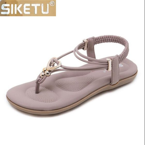 Cross Leisure Walking Woman Border Metal Women's Beach Shoes Comfortable Strong Women Sandals Pu Zinc Siketu Sh Summer Flat xBWQrodEeC