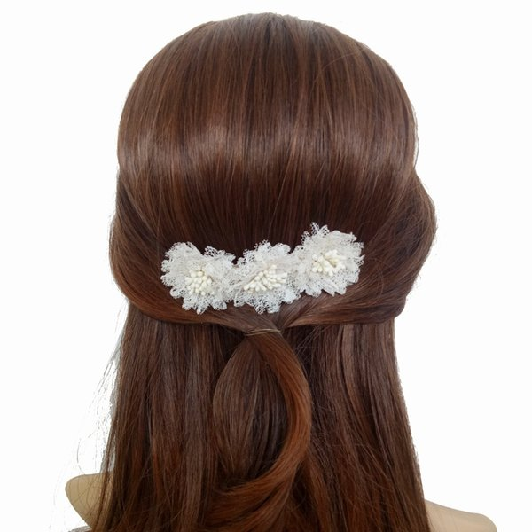 Handmade White Lace Flower Hair Combs For Bride Headdress Wedding Hair Jewelry Accessories Party Prom Bridal Ornaments