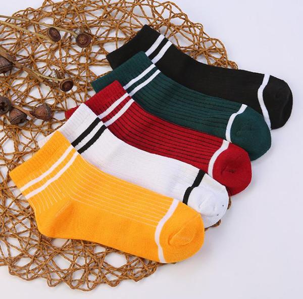 Moda mujer adolescentes calcetines a rayas calcetería Casual elástico de algodón sobre el tobillo cuatro temporadas Calcetines Navidad prsents