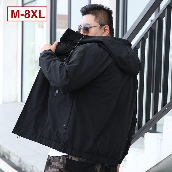 Японское Streetwear Мужской осени Куртка с капюшоном мужской мода Bomber Jacket для мужчин Повседневных Негабаритных пальто Черных Серого 6XL 7XL 8XL