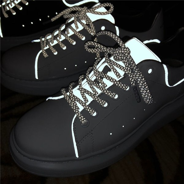 free shipping men luxury Designer trainers Shoes Reflective 3M genuine Leather Platform Sneakers shoes high quality casual shoes B100536W