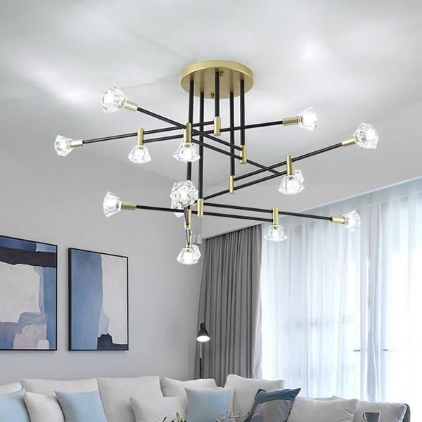 Nordic LED Chandeliers Crystal Black Gold Chandelier Lighting Fixture Kitchen Kids Bedroom Modern Living room Lamp Art deco 90-240V
