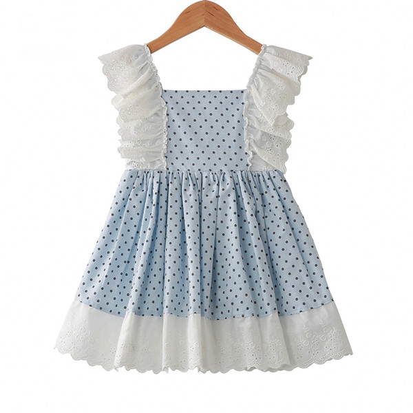 2019 Baby Girls Dress Summer Kids Print Dots Ruffles Patchwork Dress Party Western Fashion Children Lace Princess Dress From Angelinababy 1106