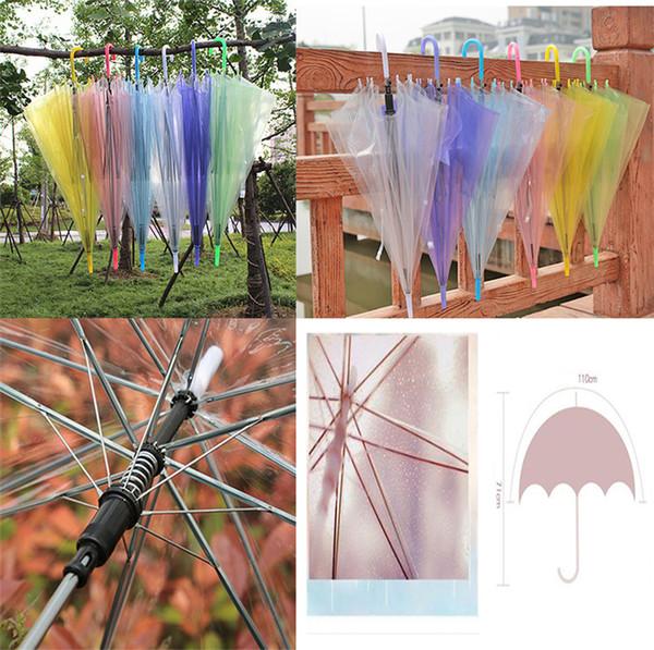 Transparent Clear Umbrellas PVC Automatic Jelly Rain Cover Sun Umbrella Long-Handle Candy Color Umbrella For 8 bone dc260