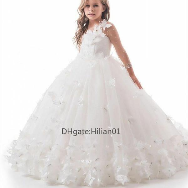 Lussuoso pizzo ragazze di fiore abiti di Applique a maniche lunghe in tulle di moda per la ragazza prima comunione Princess partito di spettacolo Abiti 2020