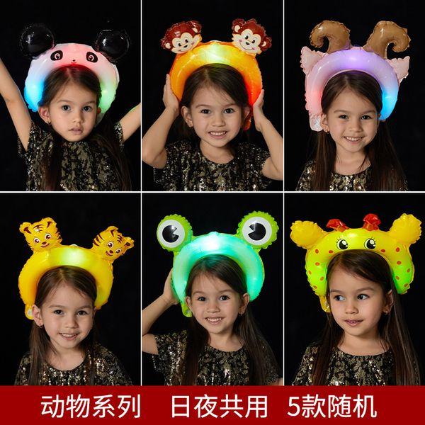 Led luminescence cheveux cerceau ballon fille bandeau ballons avec tête de lampe cerceaux avec grenouille singe oreilles de lapin 0 93hg J1