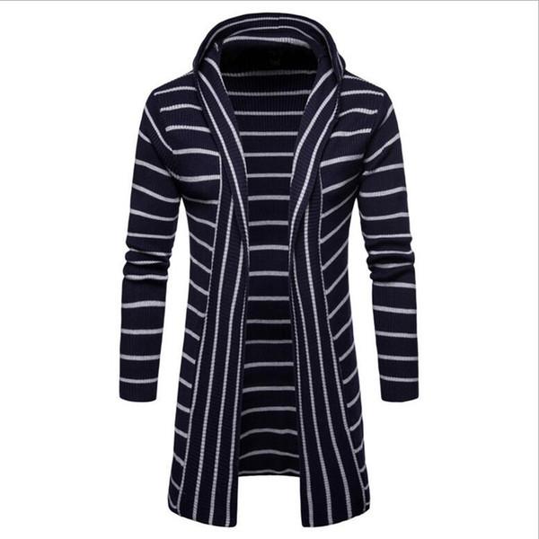 shuangmianjing / Moda 2019 Inverno Homens Casuais Camisola Fina casaco fino listrado Cardigan Homens Pescoço De Malha Mens Blusas