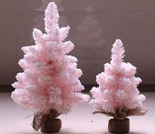 Pink Christmas Trees.Mini Pink Christmas Tree Desktop Furnishing Tree Christmas Home Party Decor Supplies Pvc Christmas Flocking Trees Hotel Shop Window Decor Christmas