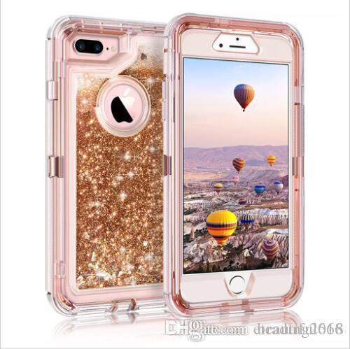 For iPhone 7 7 Plus Case Glitter 3D Bling Sparkle Flowing Liquid Quicksand Case Transparent Shockproof Bumper Anti-Drop PC Frame + TPU Back