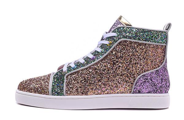 2016 Новая мода высокая верхняя разноцветный блеск Красный Нижняя обувь для мужчин Женщины топ Qulity розовый фиолетовый натуральная кожа туфли N015