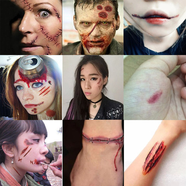 best selling Halloween Party Halloween Simulation Wound Scar Tattoo Stickers Simulation Tattoo Mischief Props Plasm Multicolour Cosmetic Disk 07