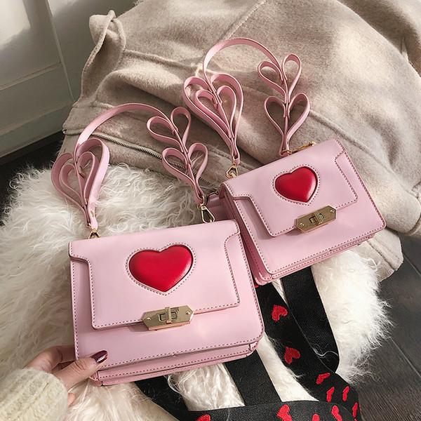 Süßes Mädchen Einkaufstasche 2019 Art und Weise neu Geschenk Mutter und Tochter Schulterbeutel PU-Leder-Frauen-Handtaschen-Herz-Verschluss Messenger Bags