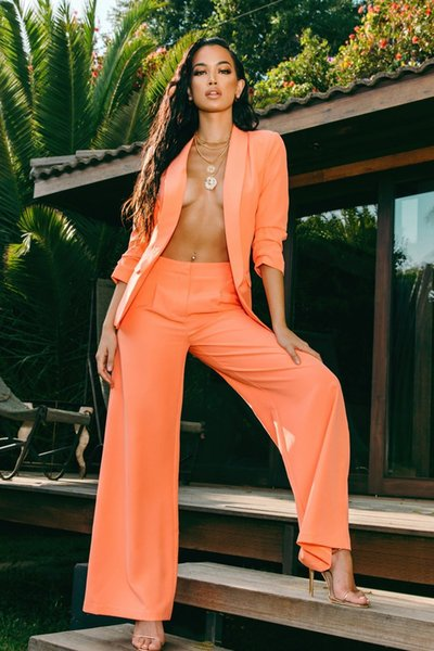 Il più nuovo arancione Office Lady due pezzi pantaloni si adatta alle donne di moda giacca a maniche lunghe giacca e pantaloni lunghi dritti imposta autunno foto reali