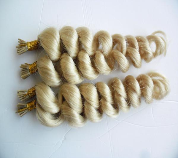 613 Bleach Blonde Virgin Brazilan Loose Wave Hair 400S 1G/S Pre Bonded Nail Stick I TIP Human Hair Extensions Keratin Italian Hair Extension