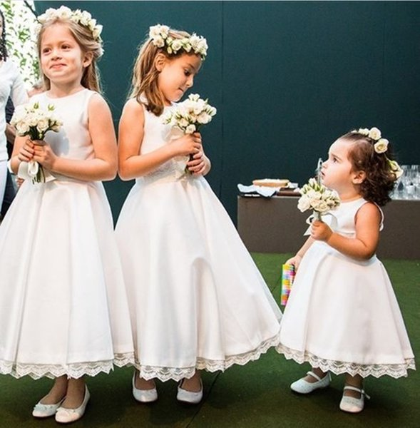 Simple O-Neck Stain Flower Girl Dresses For Wedding Pageant Dresses For Little Girls Vestido De Daminha Kids Evening Gowns