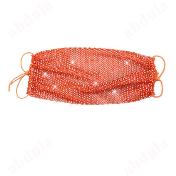 Clear Rhinestone + Orange Thread
