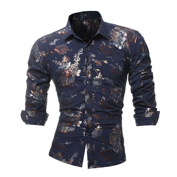 Brand 2018 Fashion Male Shirt Long-Sleeves Business Leisure Men'S Wear Tops Business Mens Dress Shirts Slim Men Shirt L-4XL #452909