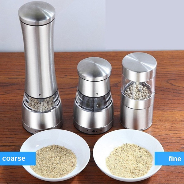 11.5 * 6.5 CM Molino de sal portátil de acero inoxidable Pimienta Máquina amoladora de mano Herramientas de molinillo de cereales de cocina 2 unidades ePacket