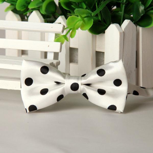 Белые мальчики лук галстука черных точечного дешевые дизайнер Bowknots Bowties нового год 2015 насыпные много Оптовых