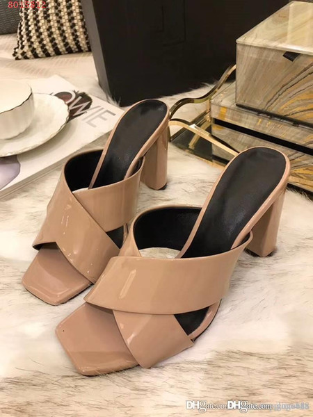 Patent leather sandals,women slippers ,Cross type Thick heel high heel slippers comfortable sandals with box Size 35-40