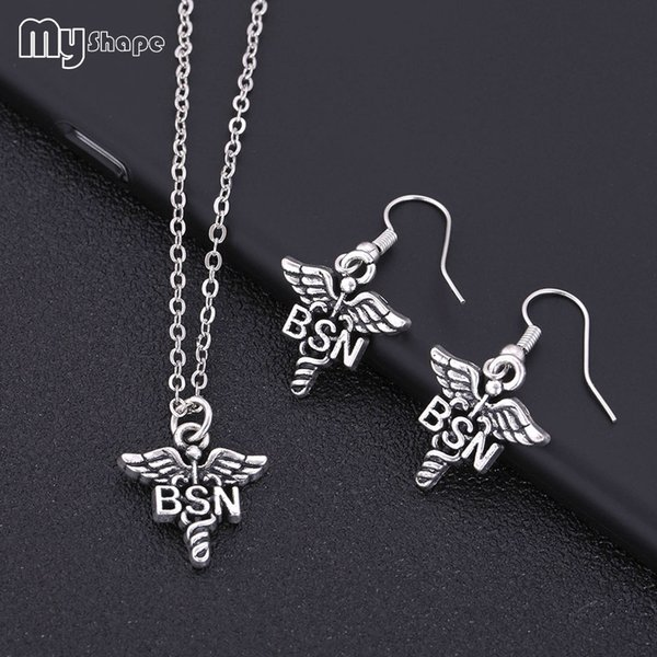 Myshape Letter Snake Caduceus Wing Jewelry Set Antique Silver Plated Vintage Necklace Earrings Set Gift for Doctor Nurse Medical