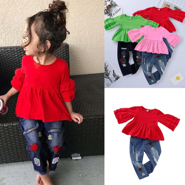 Toddler Girls Clothes Set Child Baby Girl Frill T Shirt Tops+Floral Embroidery Denim Pants 2pcs Children Clothing 1 2 3 4