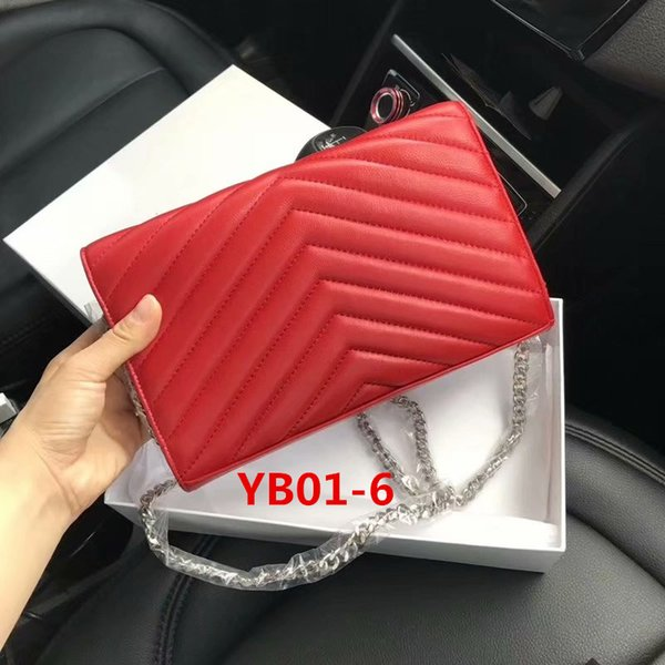 YB01-6 Cadena de plata roja de piel de oveja