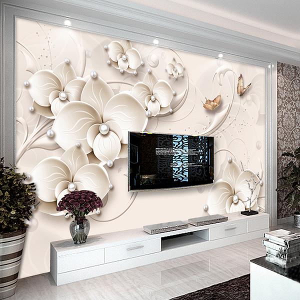 Acheter Papier Peint Personnalisé Peintures Murales 3d Relief Peinture Murale Papillon Moderne Fleur Bijoux Salon Tv Fond Mur Papiers Home Decor De