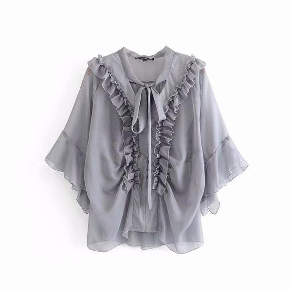 Şeffaf Kadınlar Şifon Bluz Yaz 2019 Yeni Moda Beyaz Mor Gri Bağlı Yay Yaka Ruffles Gömlek Modern lady Tops