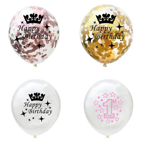 12 Pouces En Latex Couronne Ballon Rose Doré Couleur Papier Boutons Ballons Anniversaire Transparent Blanc Airballoon Nouvelle Arrivée 4sm L1
