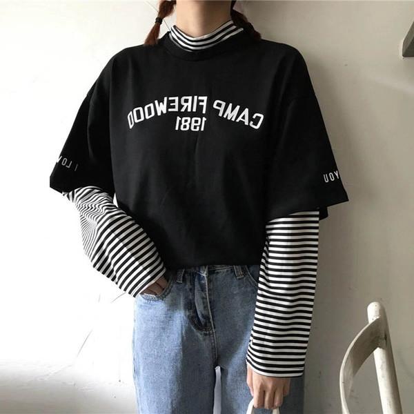 Stripe Patchwork TShirt Half Turtleneck Tee Shirts 2019 Spring Long SLeeve Tops Shirt Women Fashion Causal Clothing