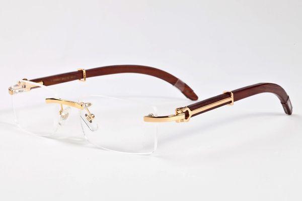 Luxury-brand designer rimless sunglasses for men 2017 fashion wood bamboo retro buffalo horn glasses brown black clear glass lens sunglasses