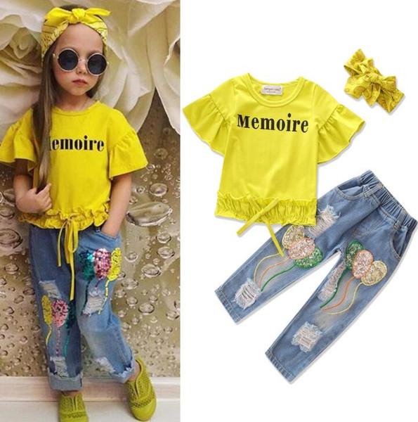 INS Sommer Kinder Anzüge Mit Kurzen Ärmeln Lotusblatt T Shirt + Jeans Mit Löchern Pailletten Jean + Mädchen stirnband 3 Teil / satz GGA2349