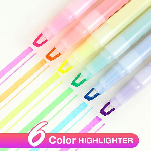 6 Adet / takım Fosforlu Kalemler Okul Ofis Kırtasiye Çift Başlı Floresan Kalem Milkliner Kalem Marker Renk Mark Kalemler
