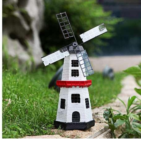 Solar Powered Windmill With Led Light Rotate Fan Statue Garden Night Light Decoration Home Office Desk Decor Ornament