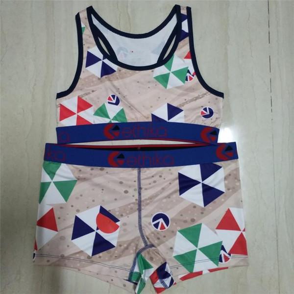 top popular New Arrival Ethika Designer Swimsuit Cartoon Leaf Stripes Print Swimwear Push Up Bra Tank Vest Swim Shorts 2pcs women bikini Set Beach 2020
