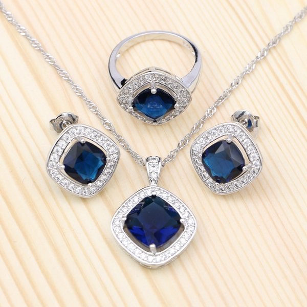 Silver 925 Jewelry Sets For Women Blue Cubic Zirconia White Crystal Square Stud Earrings Pendant Ring Necklace Set